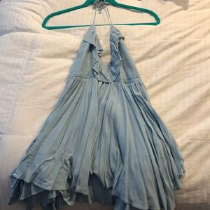 Free People baby blue ruffle fit and flare dress